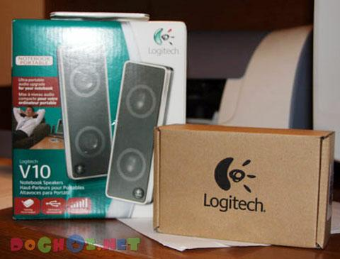Bộ loa Logitech V10 Notebook Speakers - Ultra-Portable Speakers with 2.0 Stereo.
