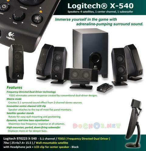 Bộ loa Logitech X-540 5.1 - 5.1 Surround Sound Effect with Full Range and Deep Bass.