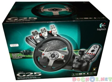 Vô lăng cho PC và Playstation - Logitech G25 Racing Wheel Joystick - Simulator-Grade Force Feedback Racing Wheel with 900 Degrees of Rotation, Six-Speed Shifter, and Real Metal and Leather Components